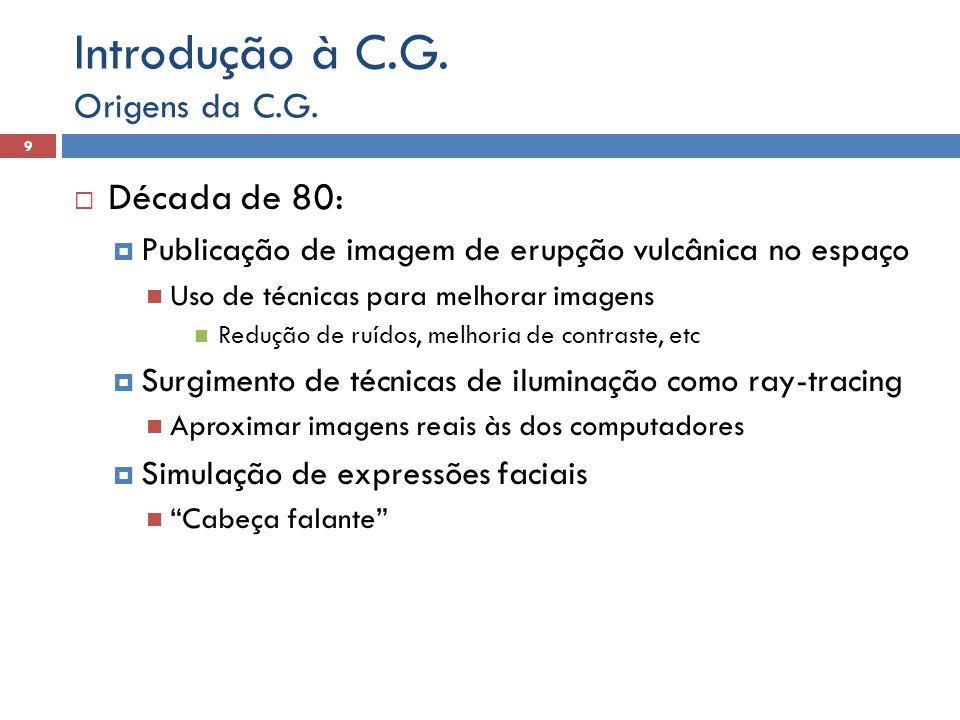 Introdução à C.G. Década de 80: Origens da C.G.