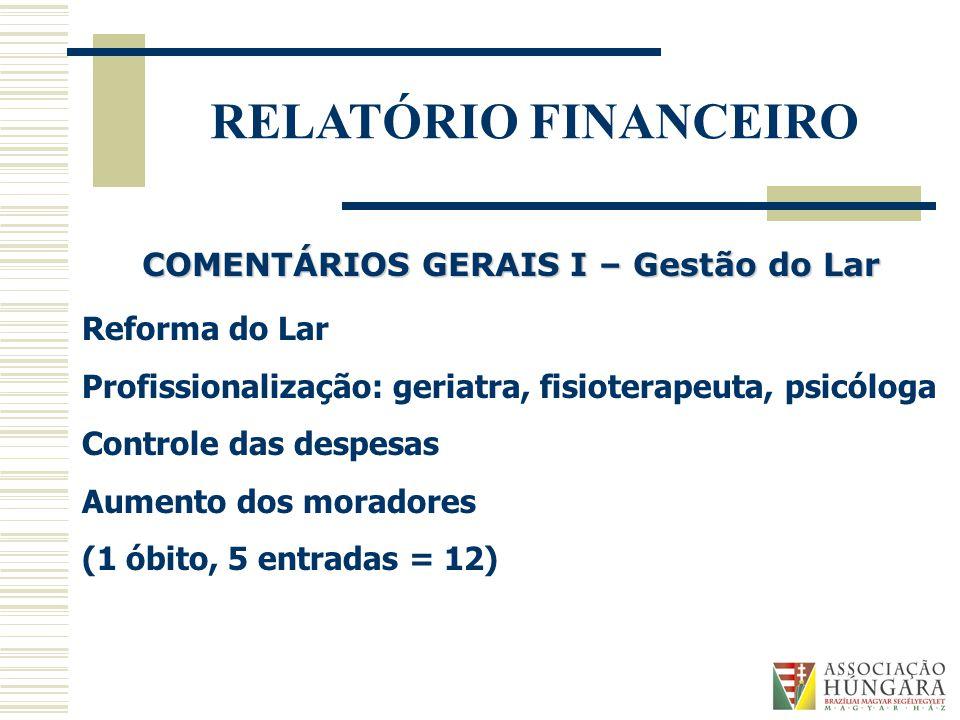 COMENTÁRIOS GERAIS I – Gestão do Lar