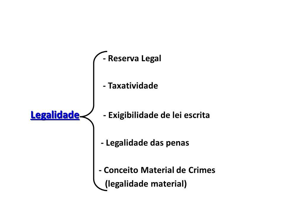 - Reserva Legal - Taxatividade. Legalidade - Exigibilidade de lei escrita. - Legalidade das penas.
