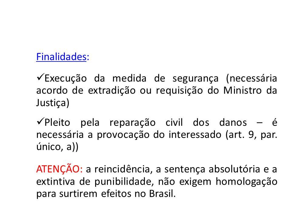 Finalidades: Execução da medida de segurança (necessária acordo de extradição ou requisição do Ministro da Justiça)