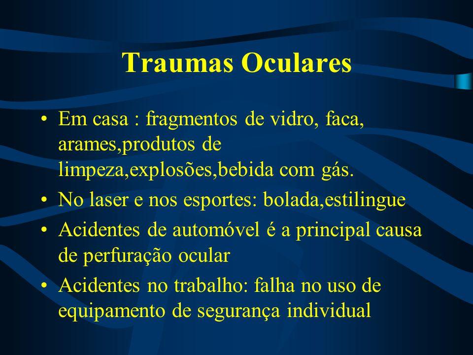 Traumas Oculares Em casa : fragmentos de vidro, faca, arames,produtos de limpeza,explosões,bebida com gás.