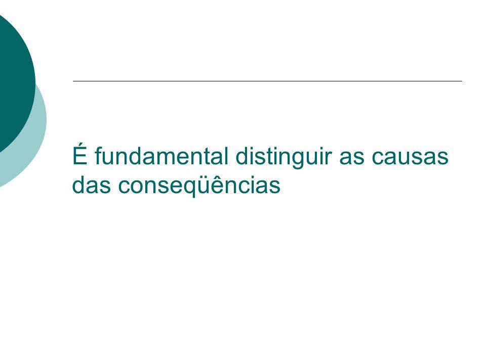 É fundamental distinguir as causas das conseqüências