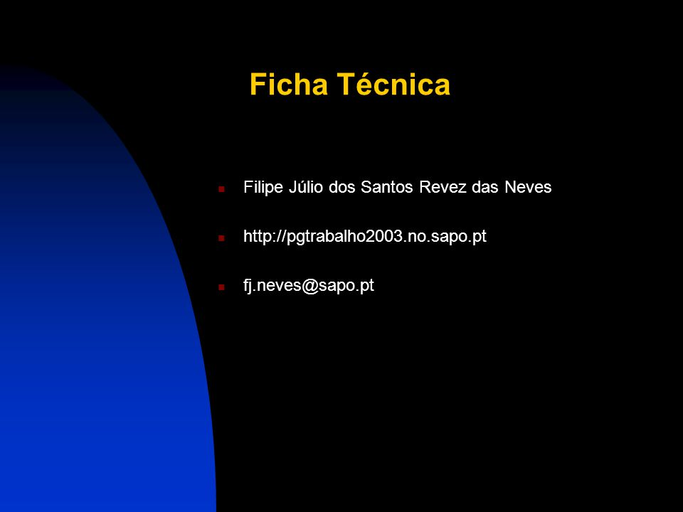 Ficha Técnica Filipe Júlio dos Santos Revez das Neves
