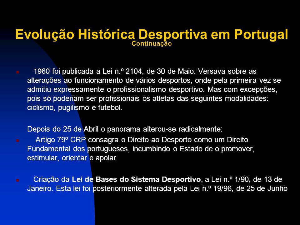 Evolução Histórica Desportiva em Portugal Continuação