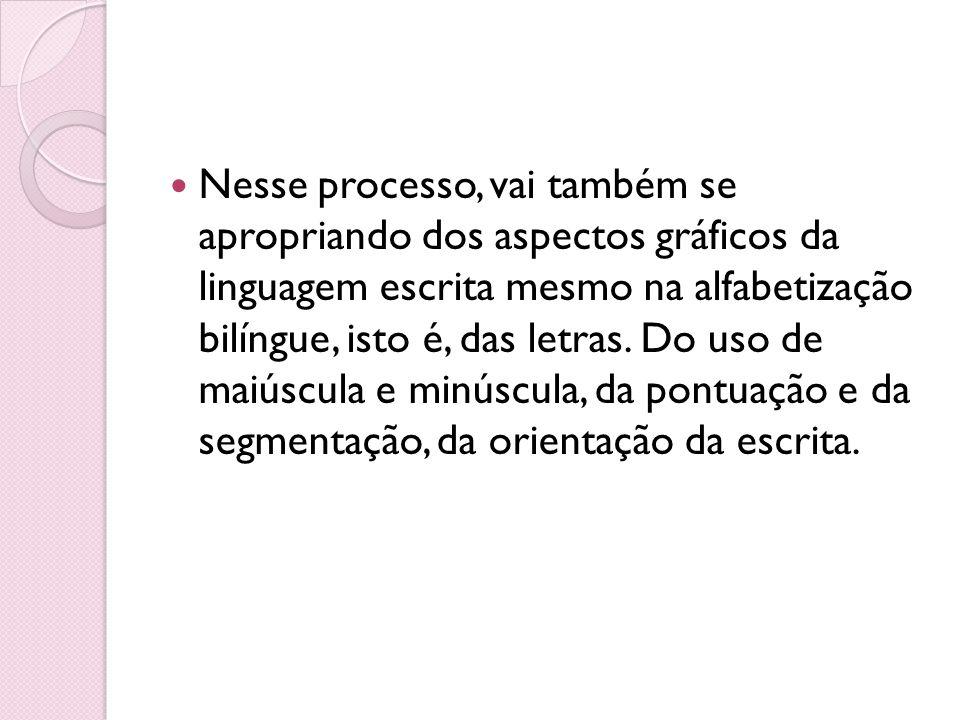 Nesse processo, vai também se apropriando dos aspectos gráficos da linguagem escrita mesmo na alfabetização bilíngue, isto é, das letras.