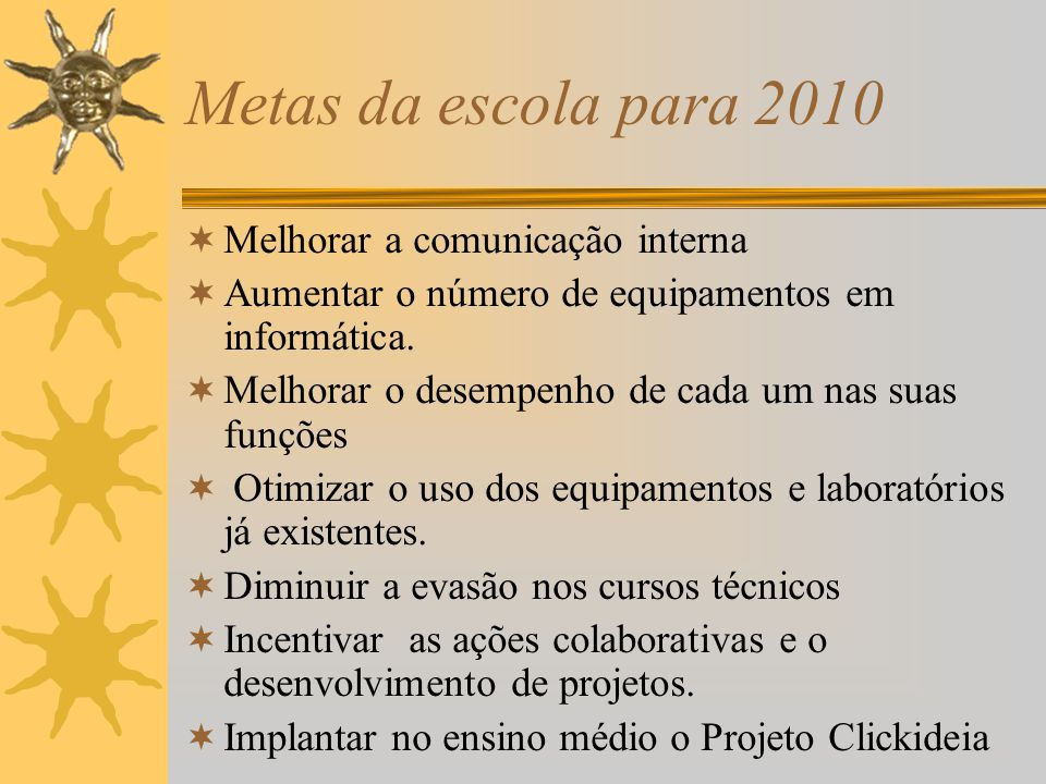 Metas da escola para 2010 Melhorar a comunicação interna