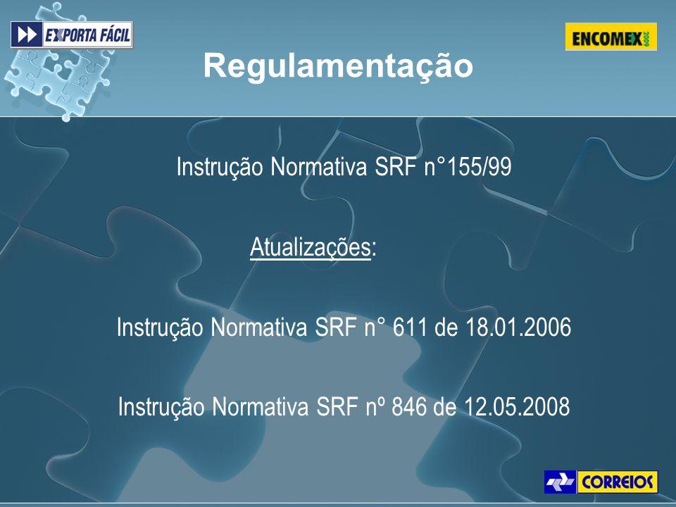 Regulamentação Instrução Normativa SRF n°155/99 Atualizações: