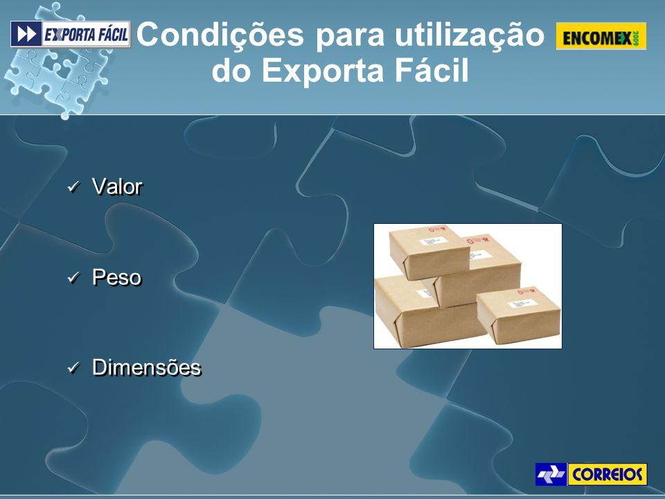 Condições para utilização do Exporta Fácil