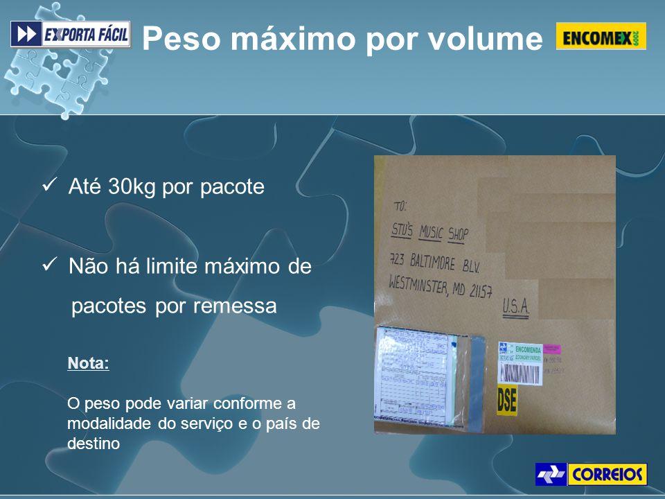 Peso máximo por volume Até 30kg por pacote Não há limite máximo de