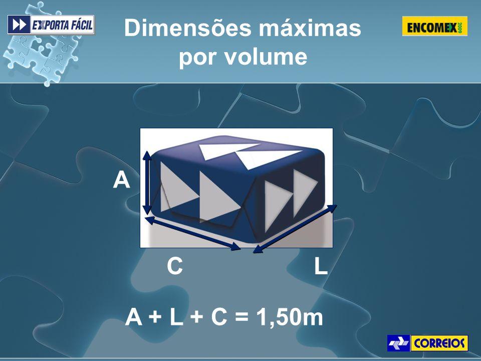 Dimensões máximas por volume