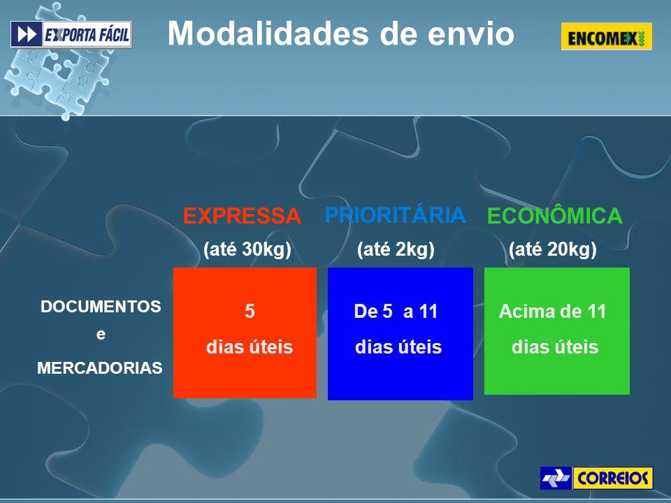 Modalidades de envio EXPRESSA PRIORITÁRIA ECONÔMICA (até 30kg)