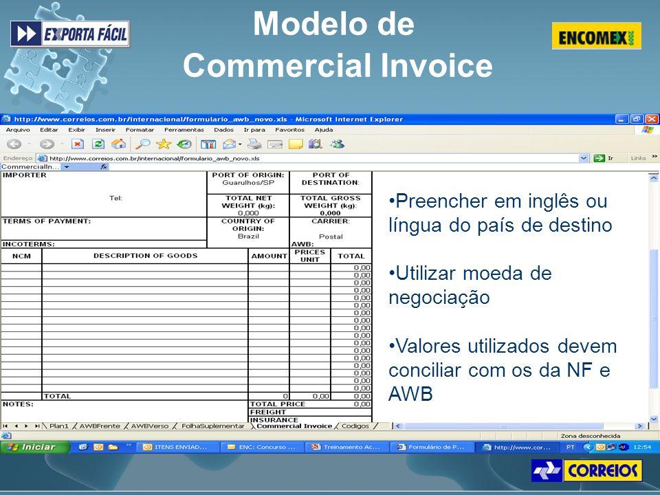Modelo de Commercial Invoice