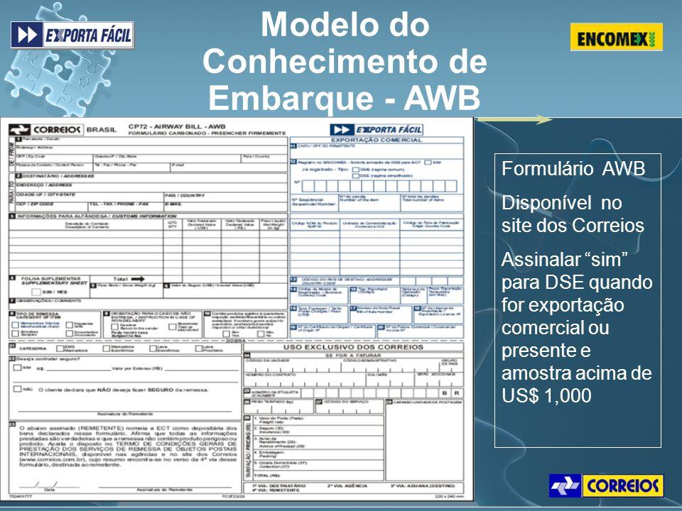 Modelo do Conhecimento de Embarque - AWB