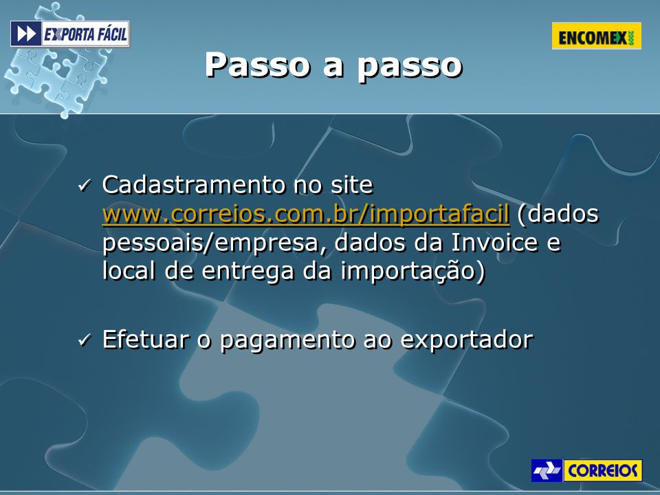 Passo a passo Cadastramento no site www.correios.com.br/importafacil (dados pessoais/empresa, dados da Invoice e local de entrega da importação)