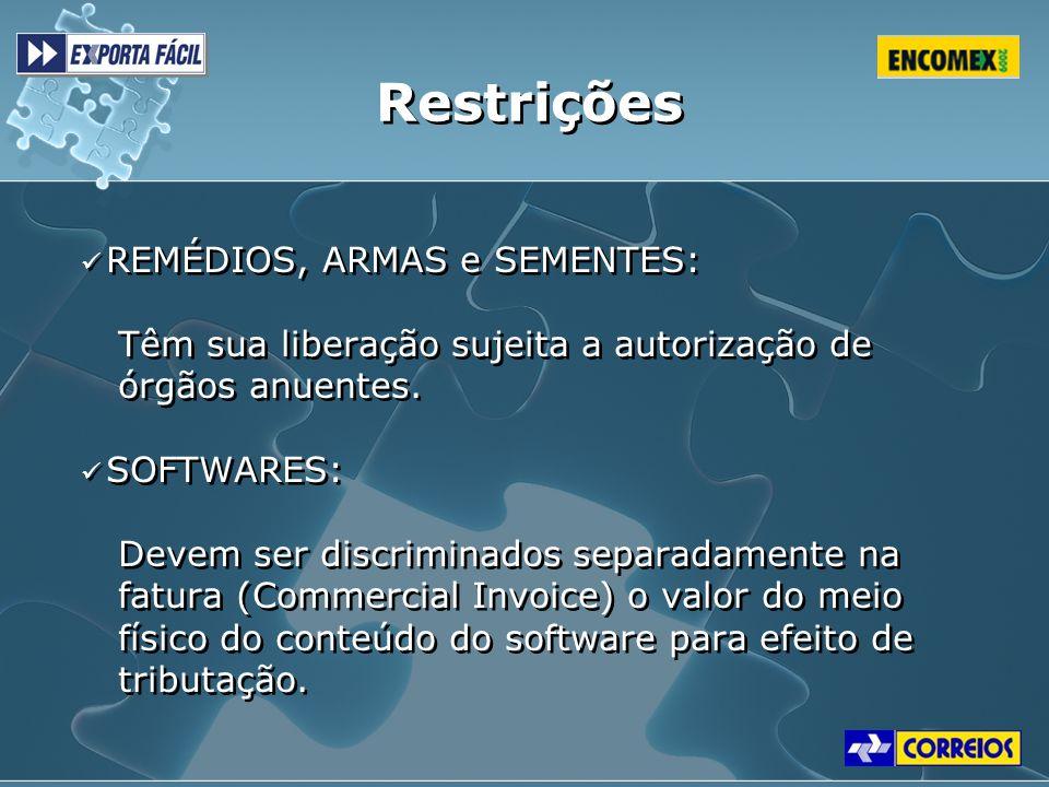 Restrições REMÉDIOS, ARMAS e SEMENTES: