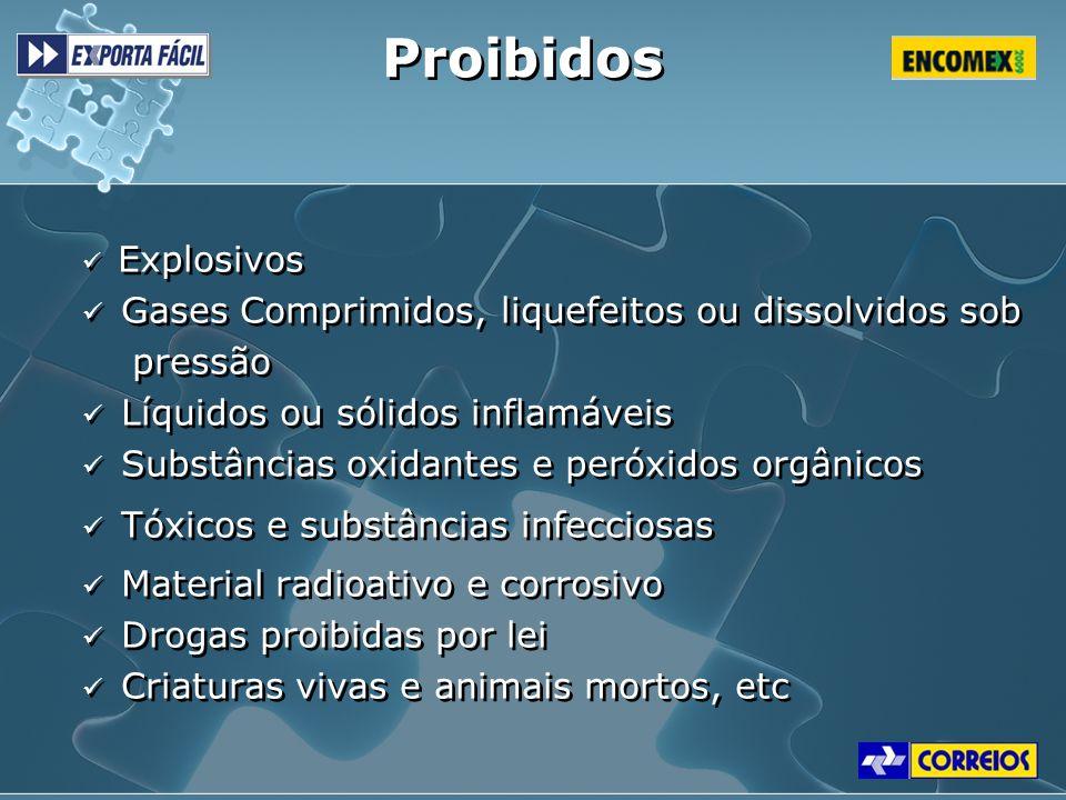 Proibidos Gases Comprimidos, liquefeitos ou dissolvidos sob pressão