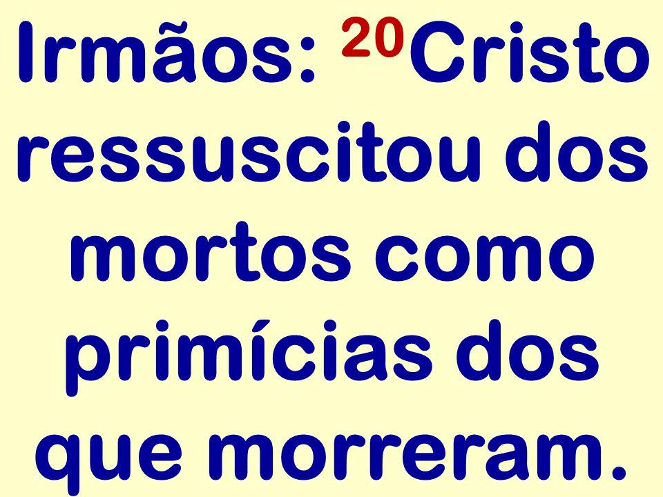 Irmãos: 20Cristo ressuscitou dos mortos como primícias dos que morreram.
