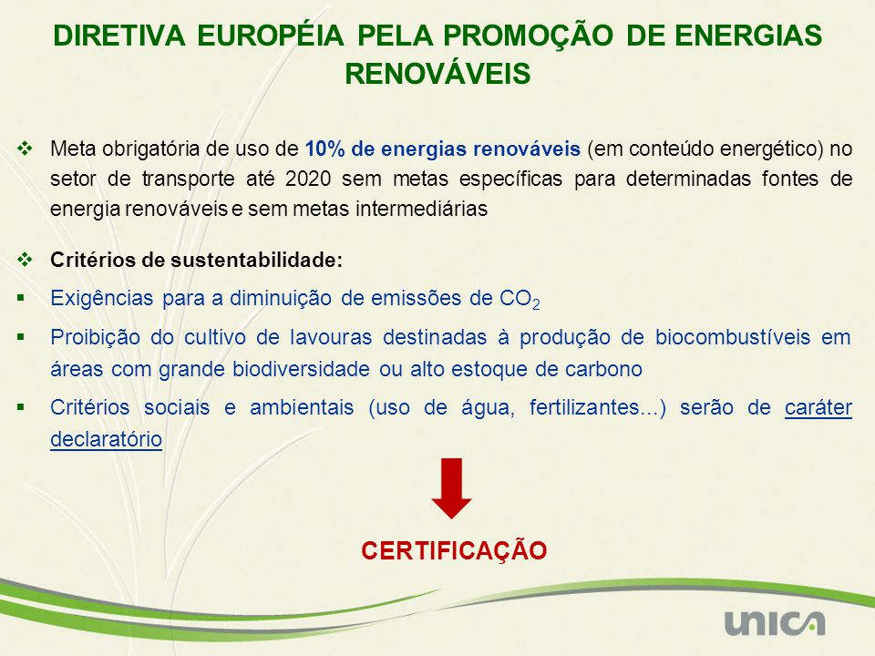DIRETIVA EUROPÉIA PELA PROMOÇÃO DE ENERGIAS RENOVÁVEIS