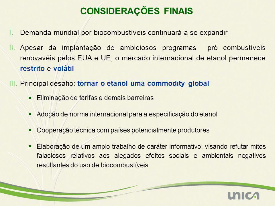 CONSIDERAÇÕES FINAIS Demanda mundial por biocombustíveis continuará a se expandir.