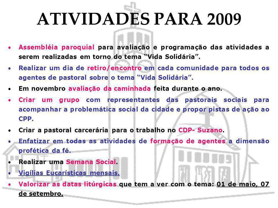 ATIVIDADES PARA 2009 Assembléia paroquial para avaliação e programação das atividades a serem realizadas em torno do tema Vida Solidária .