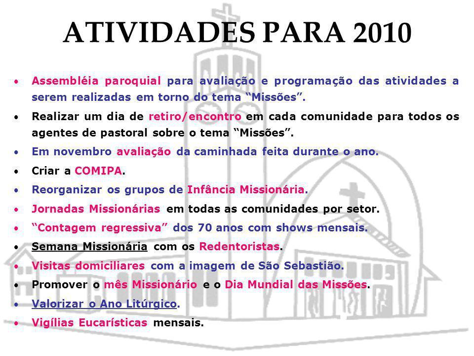 ATIVIDADES PARA 2010 Assembléia paroquial para avaliação e programação das atividades a serem realizadas em torno do tema Missões .
