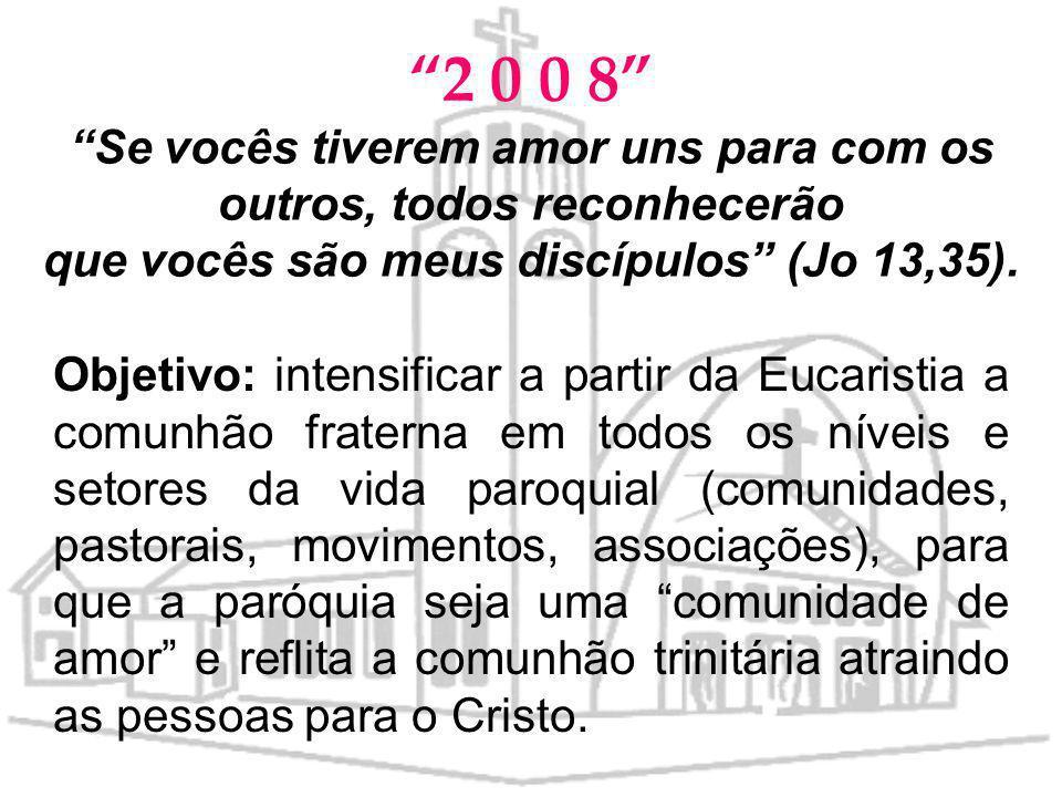 2 0 0 8 Se vocês tiverem amor uns para com os outros, todos reconhecerão que vocês são meus discípulos (Jo 13,35).