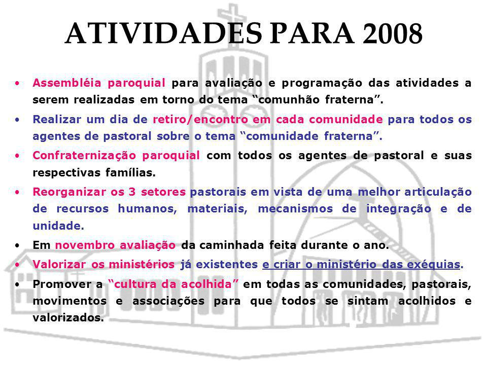 ATIVIDADES PARA 2008 Assembléia paroquial para avaliação e programação das atividades a serem realizadas em torno do tema comunhão fraterna .