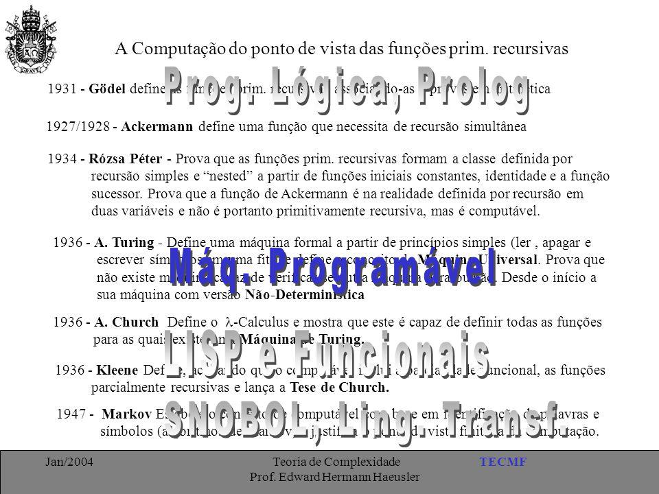 Prog. Lógica, Prolog Máq. Programável LISP e Funcionais