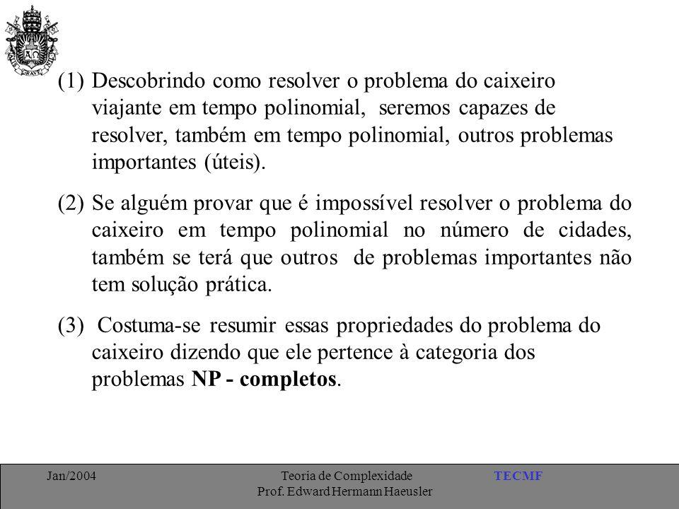 Descobrindo como resolver o problema do caixeiro viajante em tempo polinomial, seremos capazes de resolver, também em tempo polinomial, outros problemas importantes (úteis).