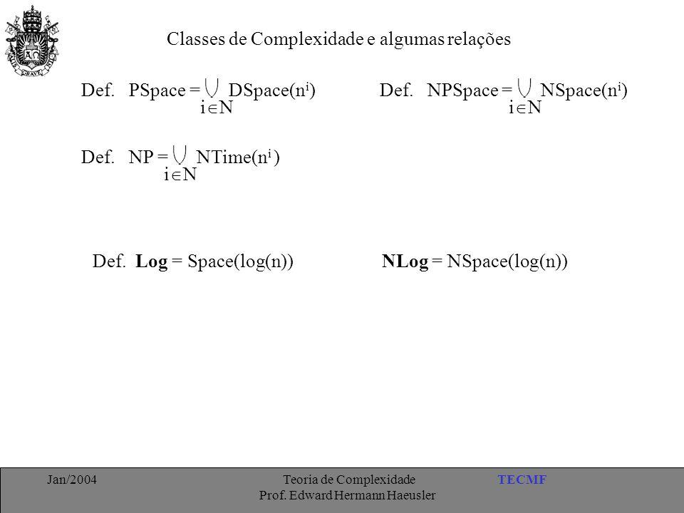 Classes de Complexidade e algumas relações