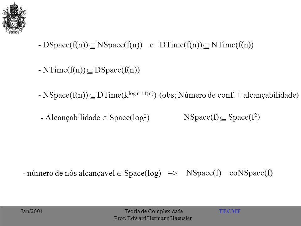 - DSpace(f(n))  NSpace(f(n)) e DTime(f(n))  NTime(f(n))