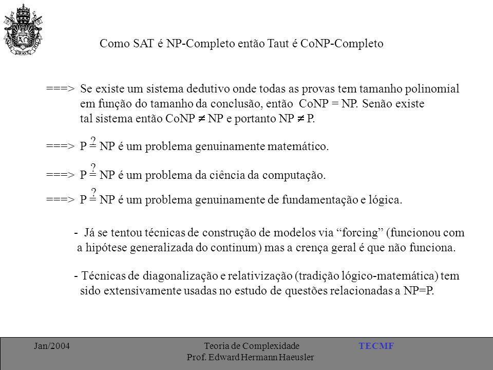 Como SAT é NP-Completo então Taut é CoNP-Completo