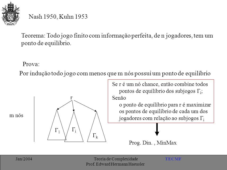 Nash 1950, Kuhn 1953 Teorema: Todo jogo finito com informação perfeita, de n jogadores, tem um. ponto de equilíbrio.