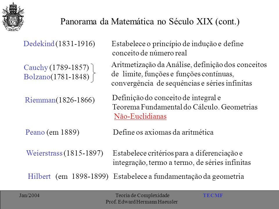 Panorama da Matemática no Século XIX (cont.)