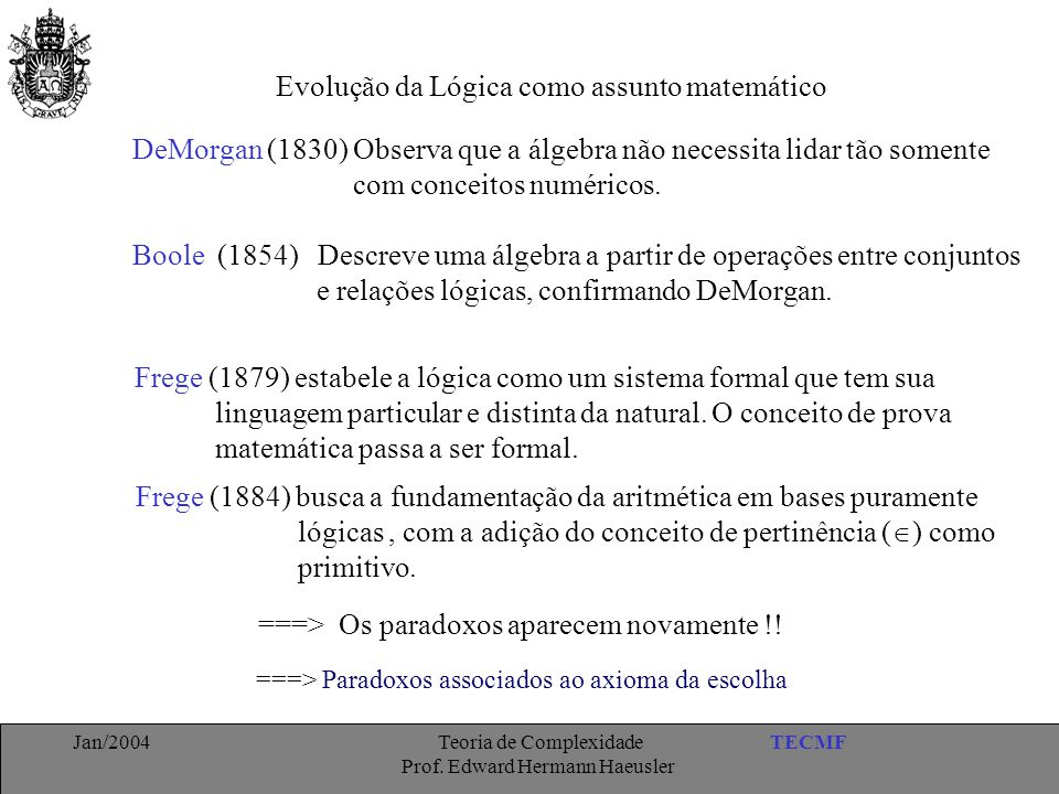 Evolução da Lógica como assunto matemático