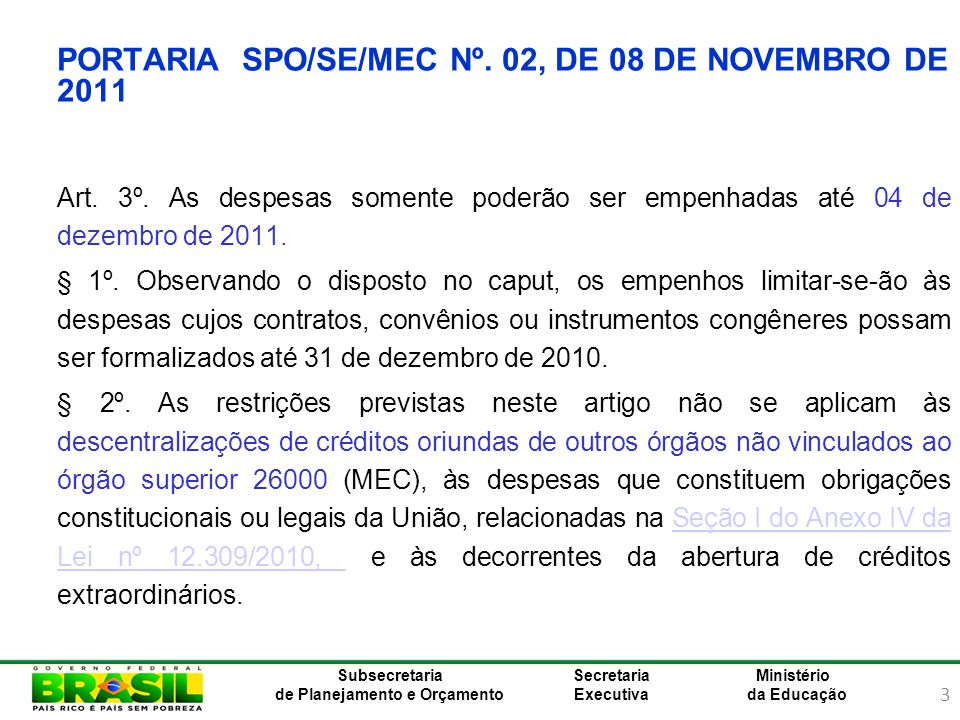 PORTARIA SPO/SE/MEC Nº. 02, DE 08 DE NOVEMBRO DE 2011
