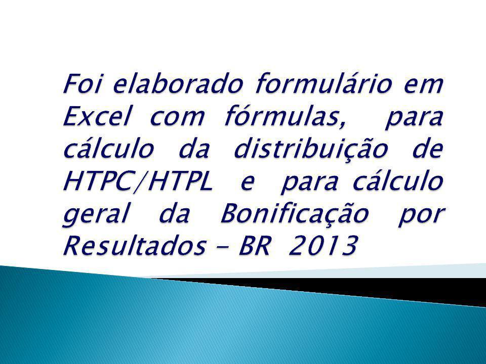 Foi elaborado formulário em Excel com fórmulas, para cálculo da distribuição de HTPC/HTPL e para cálculo geral da Bonificação por Resultados - BR 2013