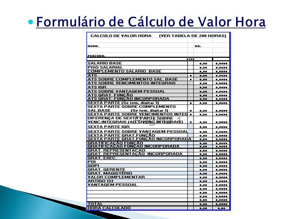 Formulário de Cálculo de Valor Hora