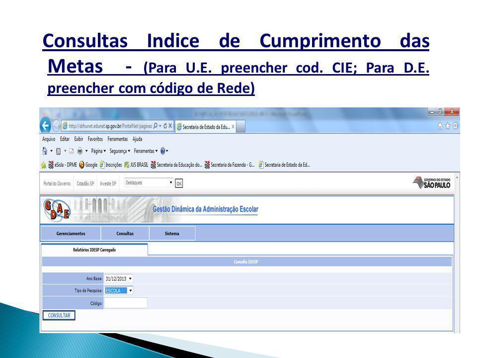 Consultas Indice de Cumprimento das Metas - (Para U. E. preencher cod