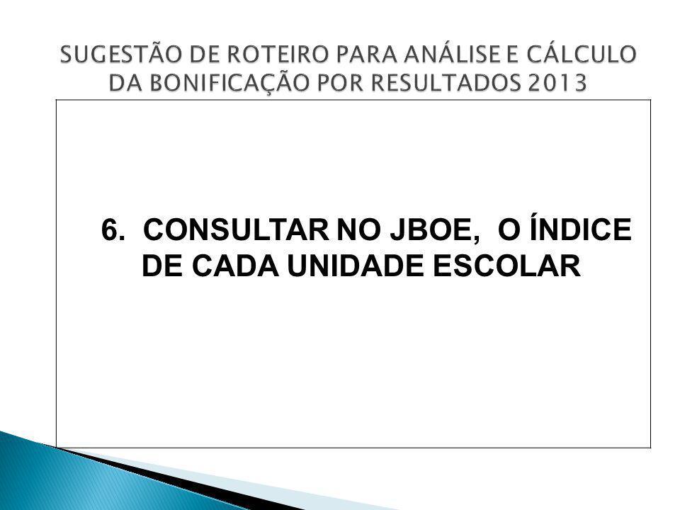 6. CONSULTAR NO JBOE, O ÍNDICE DE CADA UNIDADE ESCOLAR