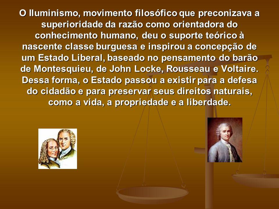 O Iluminismo, movimento filosófico que preconizava a superioridade da razão como orientadora do conhecimento humano, deu o suporte teórico à nascente classe burguesa e inspirou a concepção de um Estado Liberal, baseado no pensamento do barão de Montesquieu, de John Locke, Rousseau e Voltaire.