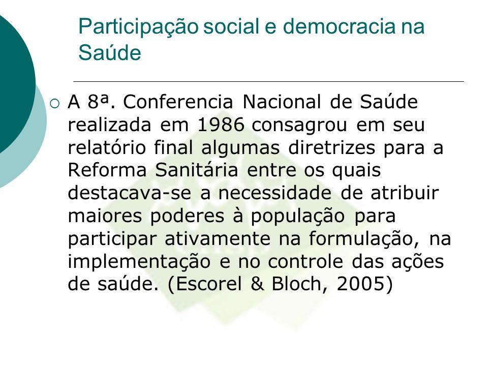 Participação social e democracia na Saúde