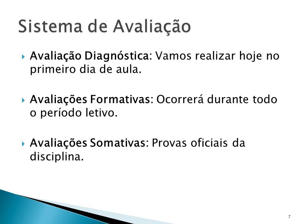 Sistema de Avaliação Avaliação Diagnóstica: Vamos realizar hoje no primeiro dia de aula.