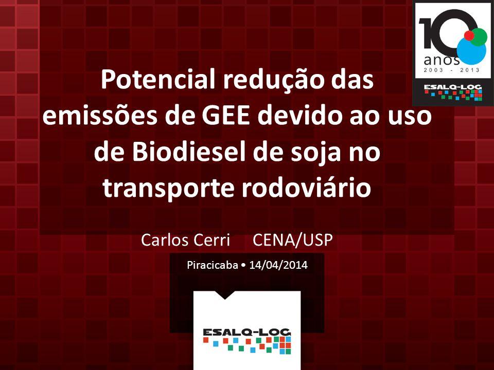 Potencial redução das emissões de GEE devido ao uso de Biodiesel de soja no transporte rodoviário