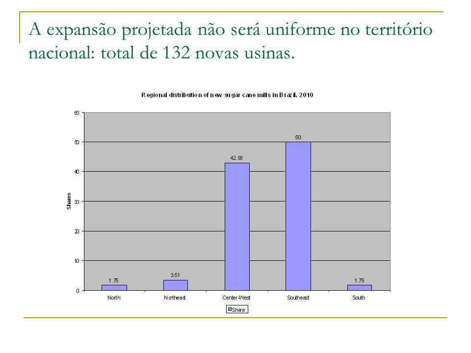 A expansão projetada não será uniforme no território nacional: total de 132 novas usinas.