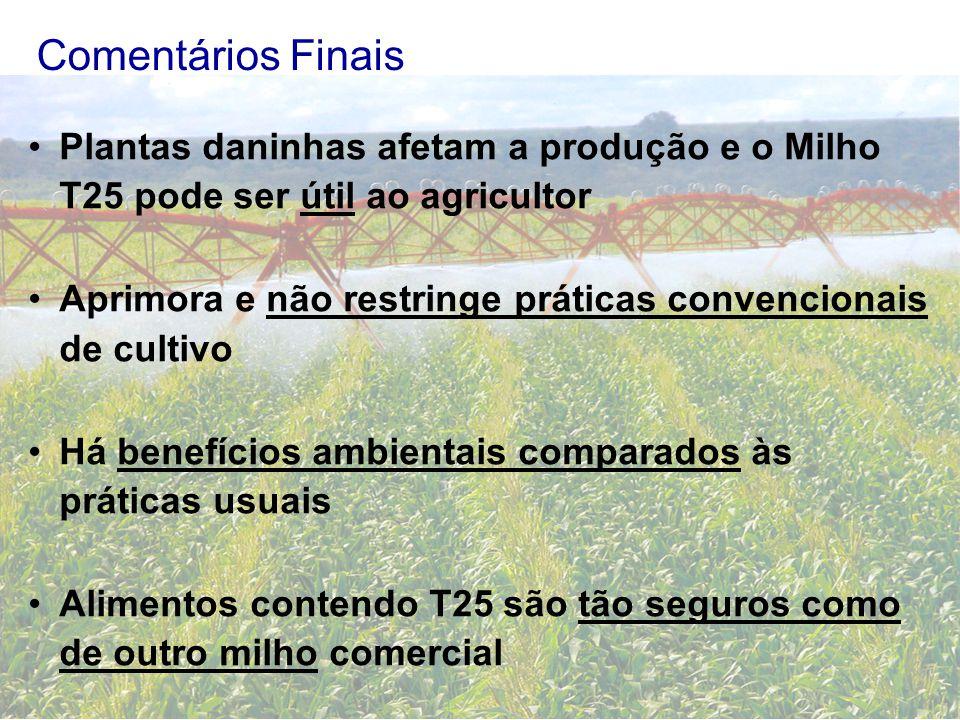 Comentários Finais Plantas daninhas afetam a produção e o Milho T25 pode ser útil ao agricultor.