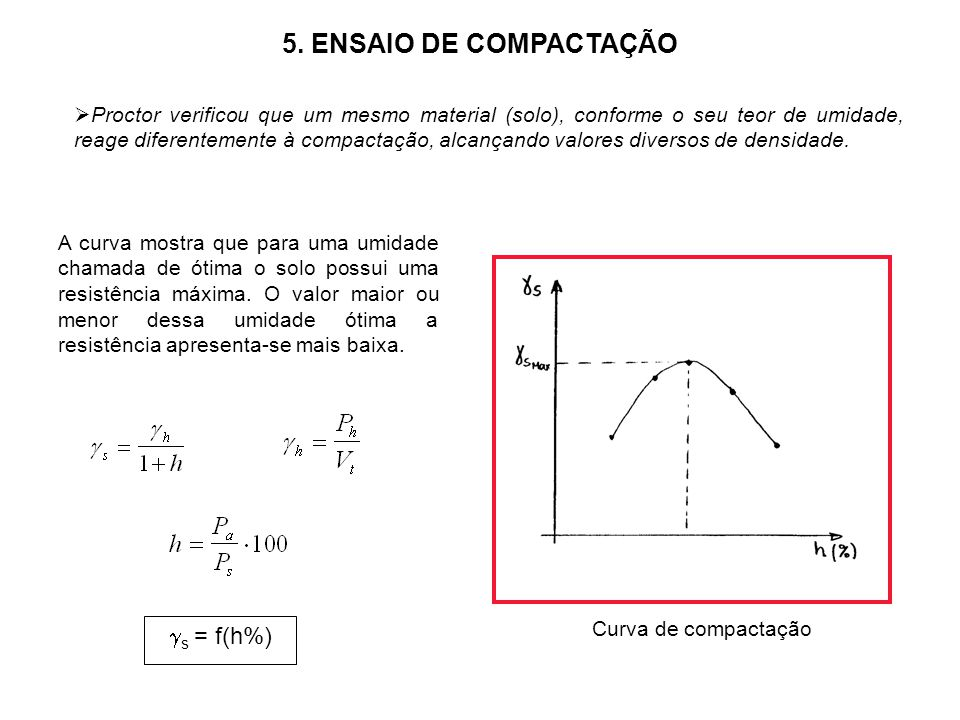 5. ENSAIO DE COMPACTAÇÃO s = f(h%)