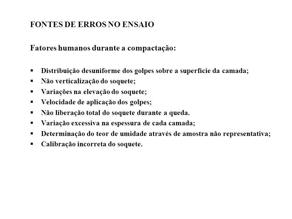 FONTES DE ERROS NO ENSAIO Fatores humanos durante a compactação: