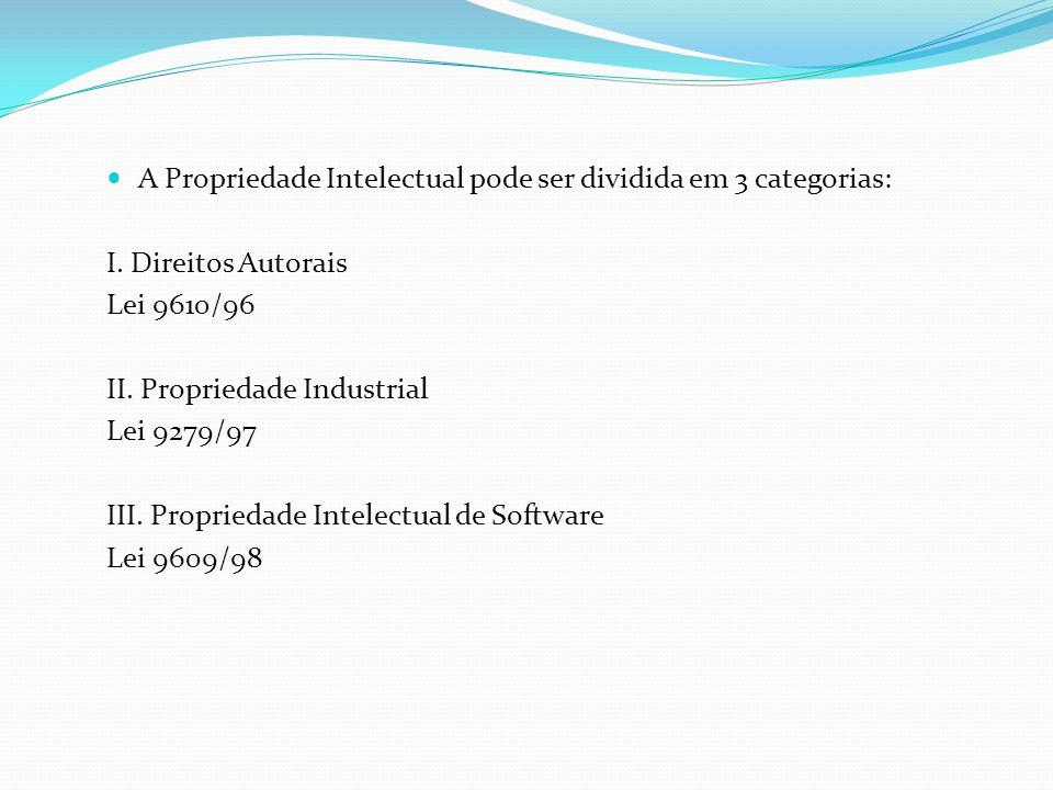 A Propriedade Intelectual pode ser dividida em 3 categorias:
