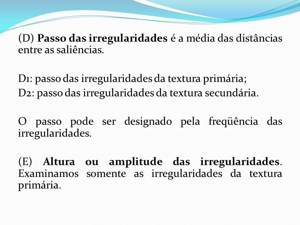 (D) Passo das irregularidades é a média das distâncias entre as saliências.